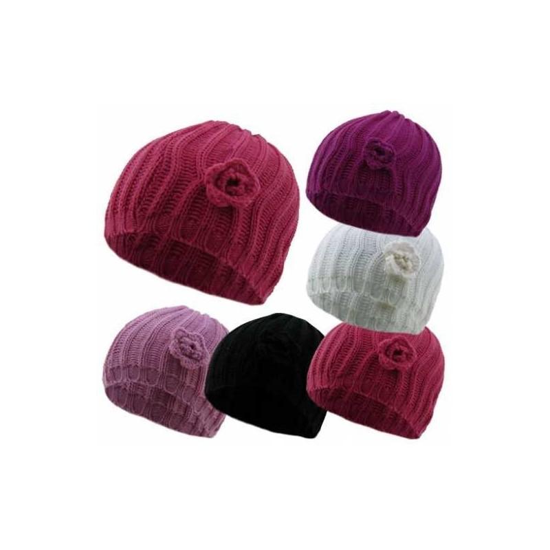 Bonnet - dames Chunky Knit Beanie chapeau - tricoter fleurs bonnet