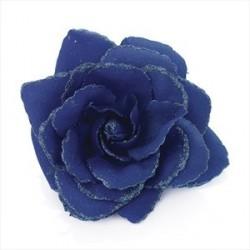 Hair Elastic Clip - Royal blue colour rose flower glitter hair elastic and clip.