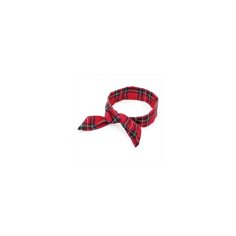 Wire Headband - Red tartan check print wire head scarf usagi headband.