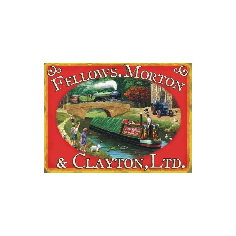 Sign 15x20cm - Canal Boats by Fellows. Morton & Clayton, Ltd - metal wall sign