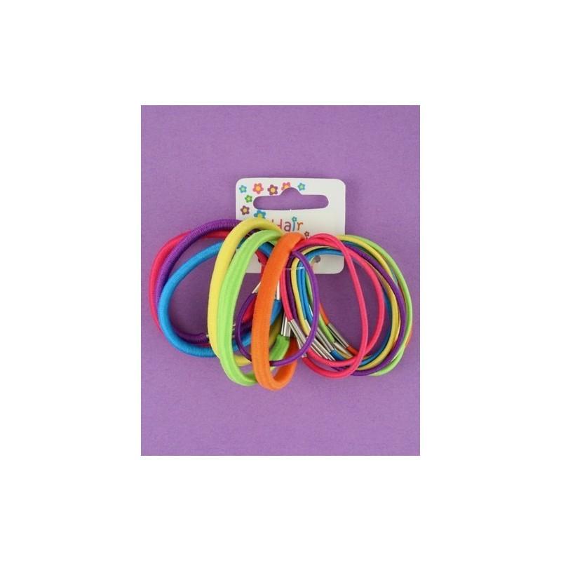 Hair Elastics - pack of 18 assorted bright coloured elastics.