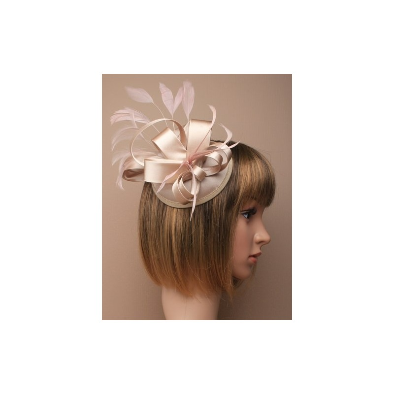 Cap Fascinator - Champagne nude satin cap fascinator with satin loops and feathers on a large fork clip.