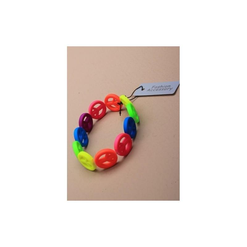 Stretch Bracelet - rainbow coloured peace symbol stretch bracelet.