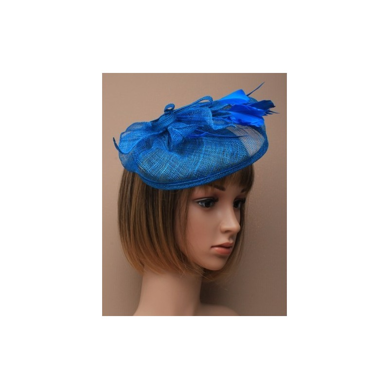 Fascinator Clip Hatinator - large blue looped hessian hatinator on a clip.