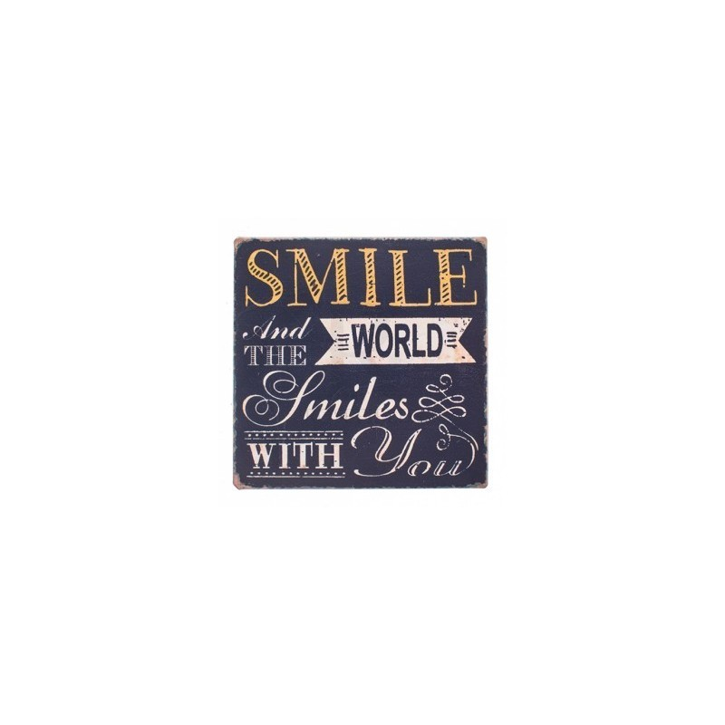 Magnetic Plaque - magnetic rustic style plaque with popular quote insmile and the world smiles with youin