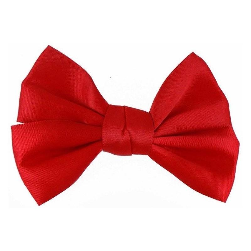Hair Clip - Red Shiny Satin Bow Hair slide clip