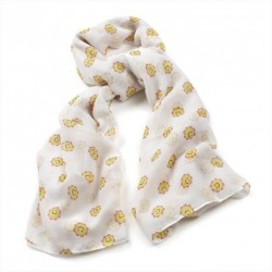 Cream scarf with yellow Sunny smiley face print Large 105x180cm scarf shawl Wrap