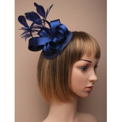 Hatinator Cap Clip - Navy satin cap fascinator with satin loops and feathers on a large fork clip.
