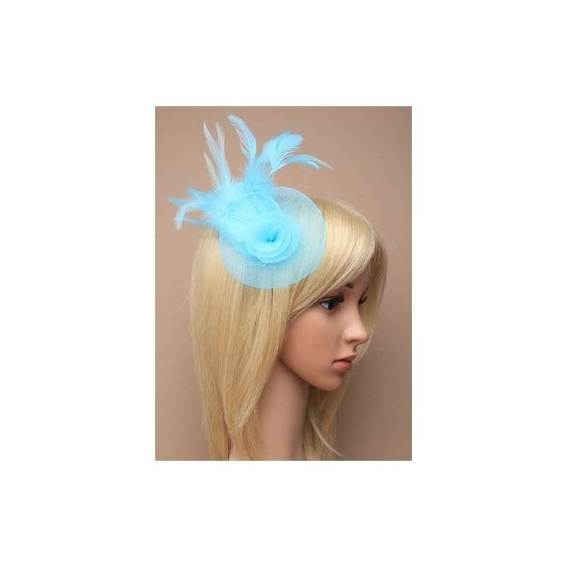 Fascinator Clip & Pin - turquoise net rosette fascinator with feather detail on a clip and brooch pin