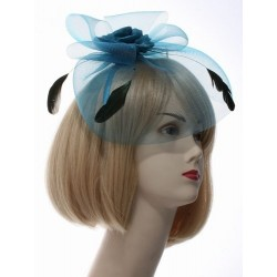 Fascinator Aliceband - Satin Flower, feather and net fascinator headband alice band