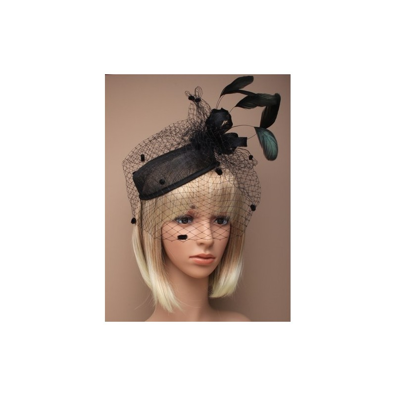 Hatinator Elastic - large black hatinator with spotted net and sinamay loops and feathers on an elastic