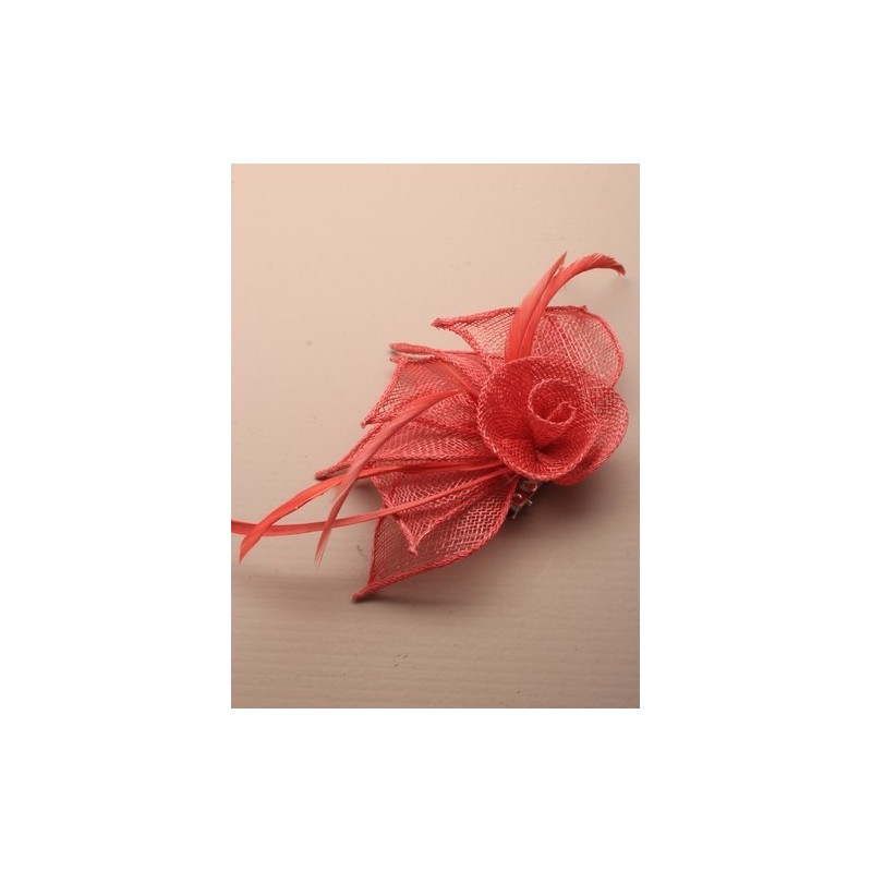 Fascinator Clip & Pin -Coral hessian netted rose fascinator with 3 petals fascinator on a beak clip and brooch pin.