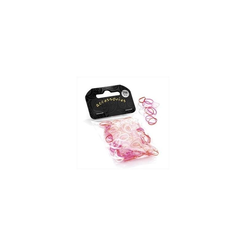 gomas de pelo - 250 piezas pequeñas tonos rosados \u200b\u200bbandas elásticas para el cabello.