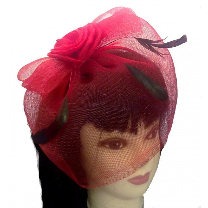 Fascinator Headband Hair Band - Satin Flower, feather and net fascinator headband hair band aliceband