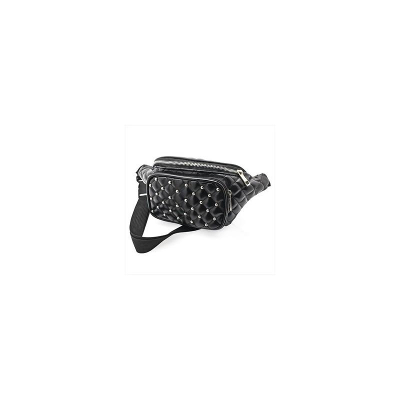 Bum Bag - Black colour quilted studded bum bag.