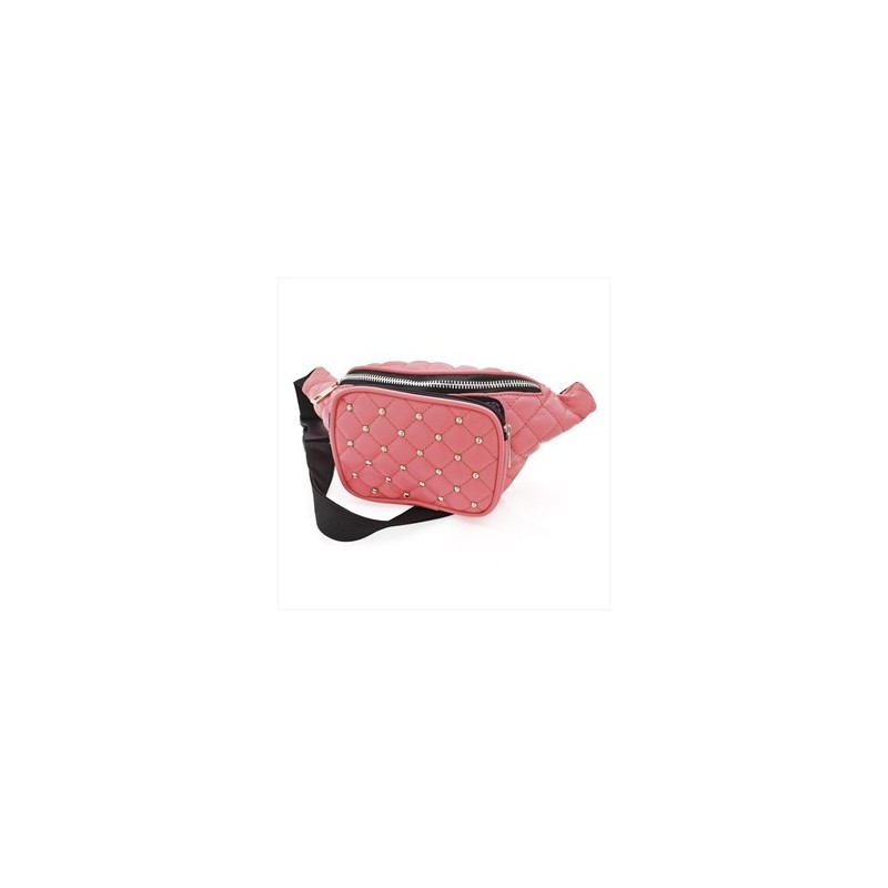 Bum Bag - Peach colour padded studded bum bag.