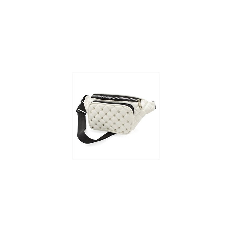 Bum Bag - White colour quilted studded bum bag.