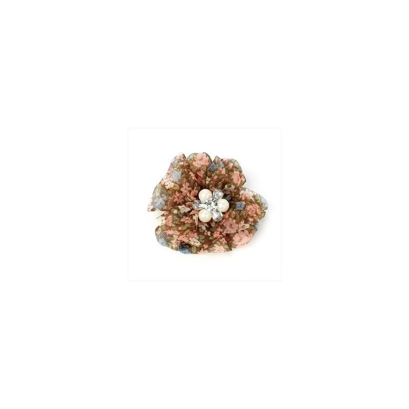 Hair Clip - Pink and brown tone floral print flower hair clip.