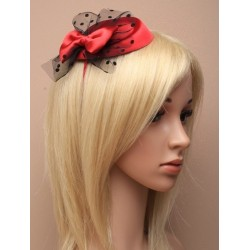 Pillbox fascinator headband - Deep Red with satin bow and spotted black net on a satin fabric aliceband pillbox fascinator
