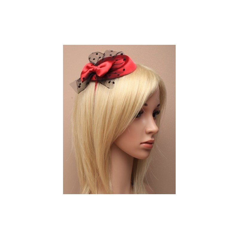 Pillbox fascinator - Burgundy with satin bow and spotted black net on a satin fabric aliceband pillbox fascinator