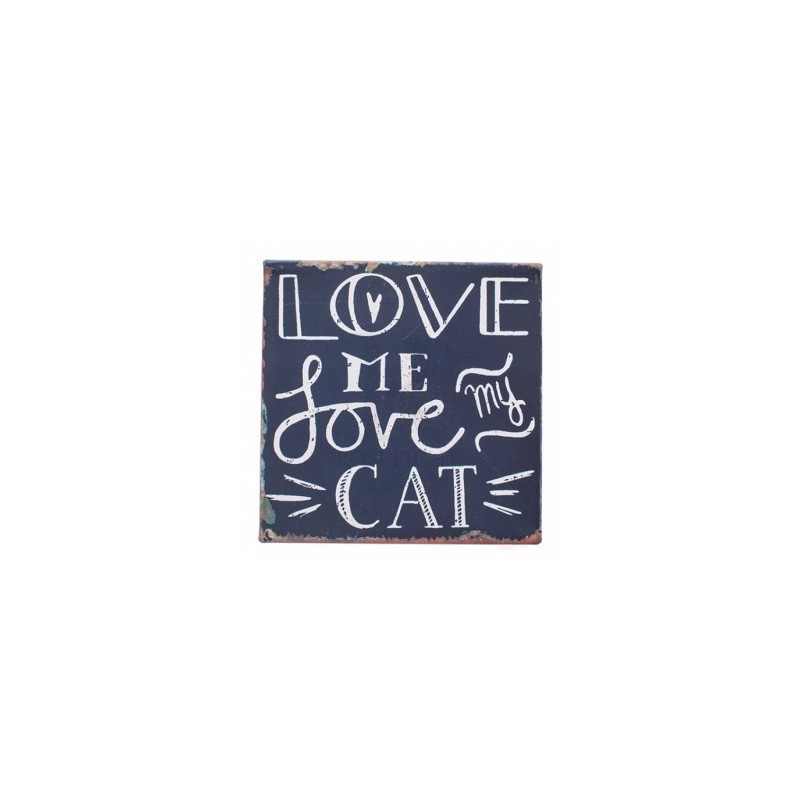 placa de metal magnético - Love Me encanta mi gato