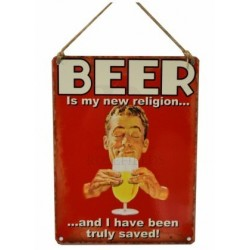 Beer Sign - beer is my new religion vintage metal sign