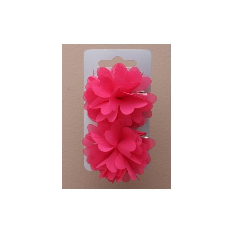 Beak Hair Clip - Chiffon florets, heart shaped petal hair grip slides