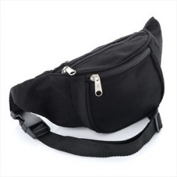 Bum Bag - Plain Black Canvas bum bag.