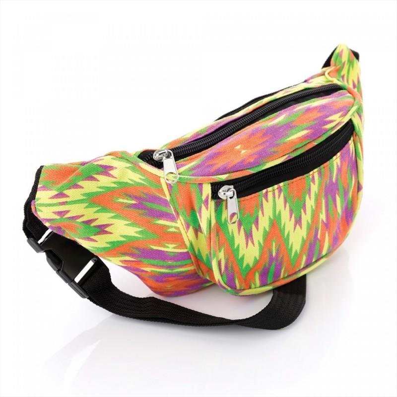 Bum Bag - Aztec Zig-Zag bright abstract design bum bag.