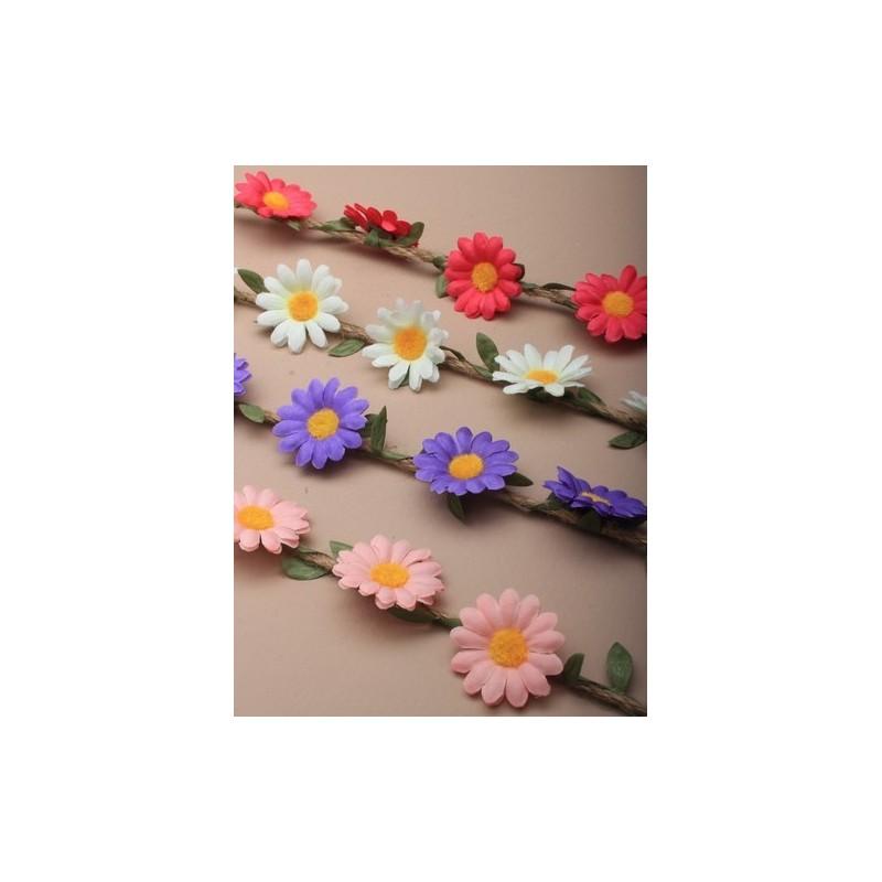 Halo Browband - Natural cord fabric daisy garland headband browband.