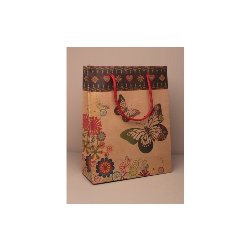 Gift Bag - large natural brown paper gift bag with butterfly print and corded handle 24x19x8cm