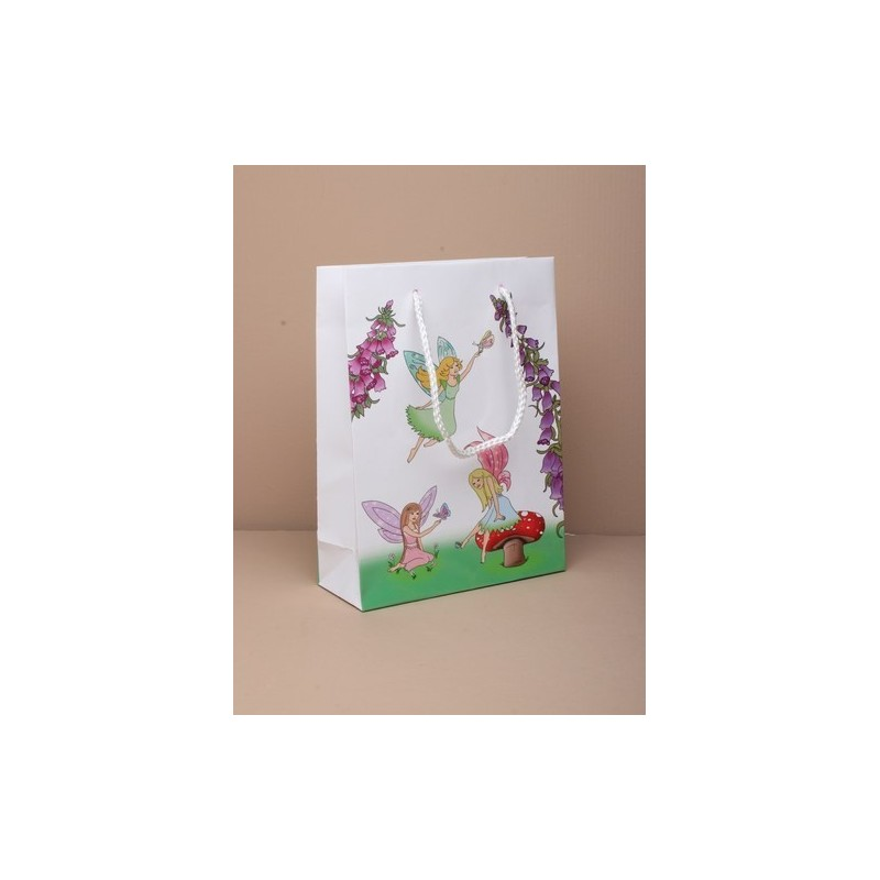Gift Bag - fairy print gift bag with pink corded handle 20x15x6cm