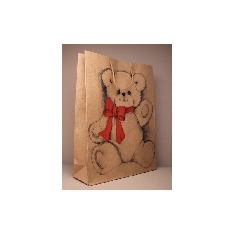 Gift Bag - natural brown paper gift bag with teddy bear print 42x31x10cm