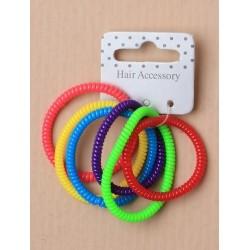 Tele-Cord Elastics - Set of 6 narrow bright coloured...