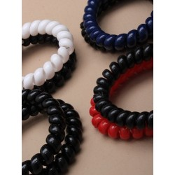 Tele-cord Elastics - Set of 2 telephone cord scrunchies in 4 colours with black