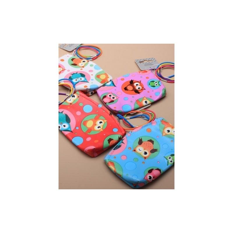 Owl Purse - owl and spot print purse with 4 thin bright elastics 7.5 x 10.5cm - choice of 4 colours