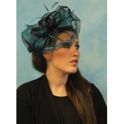 Hatinator Headband Hair Band - Wedding Fascinator Headband Hair Band with Feather Bow, Coiled Net Cap Navy Pink