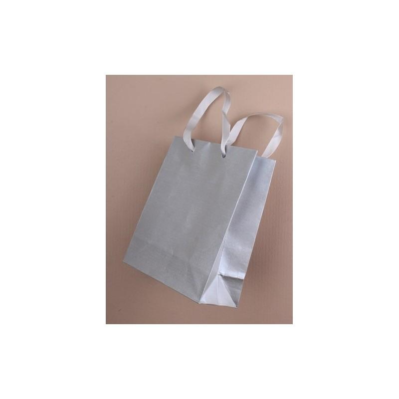 Silver Gift Bag 15cm x 12cm x 6cm (approximately)