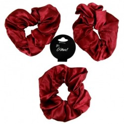 3 Soft Shiny Satin Burgundy Deep Wine Hair Scrunchie Girls School Gym Scrunchy