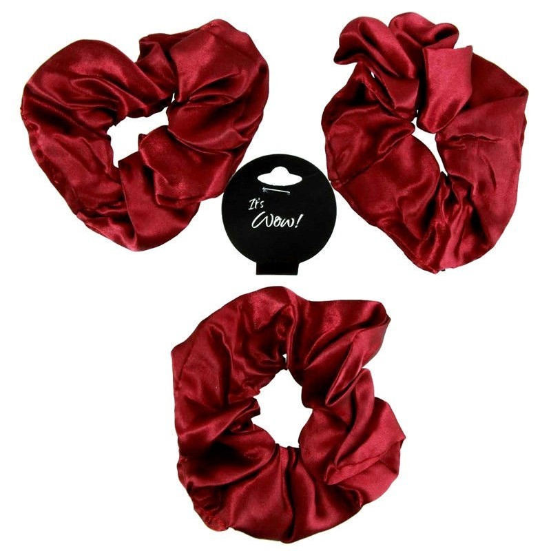 3 Soft Shiny Satin Burgundy Deep Wine Hair Scrunchie Girls School Gym Scrunchy
