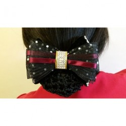 Burgundy Black Net Bow Ribbon Crochet Bun Net Holder Snood Diamante Hair Clip