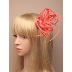 Fascinator Clip - Coral looped hessian net and feather beak clip with brooch pin fascinator