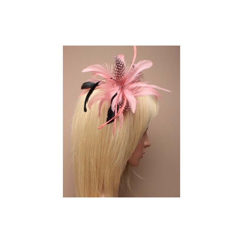 Fascinator Clip - Dusky Pink feather forked clip and brooch pin fascinator.