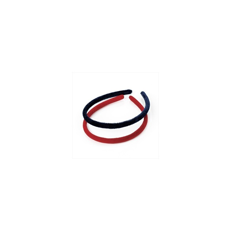 Aliceband - Two piece red and navy colour velvet look narrow headband set.