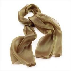 Gold colour metallic look scarf.