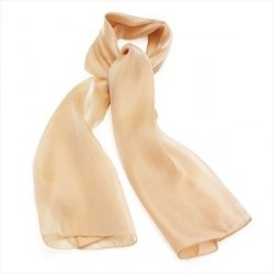 Beige colour satin look scarf.