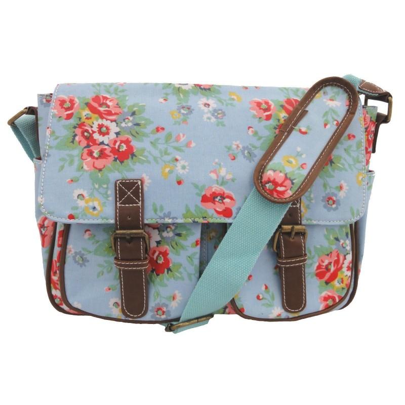 Messenger Bag - Blue Girls Retro Oilcloth Floral Print Messenger Satchel Saddle Shoulder Bag