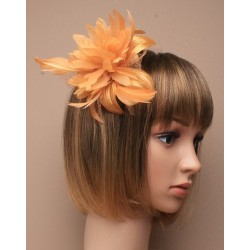 Fascinator comb - gold feather flower fascinator on a clear comb fascinator