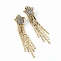 Earrings - Gold colour crystal star drop earrings