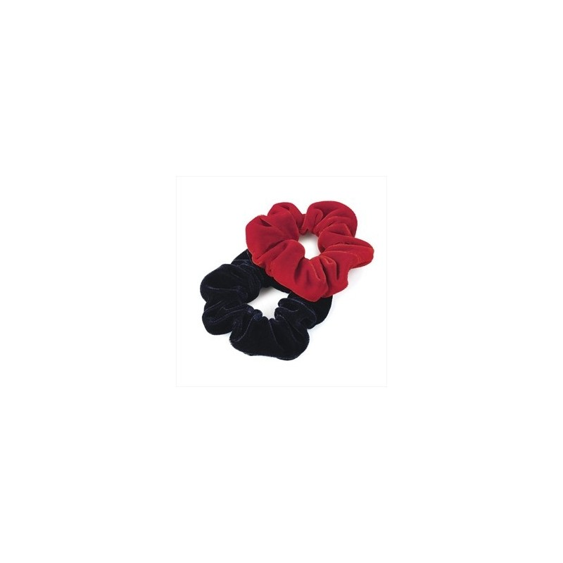 Scrunchies - Two piece red and navy colour velvet look elasticated hair scrunchie set.